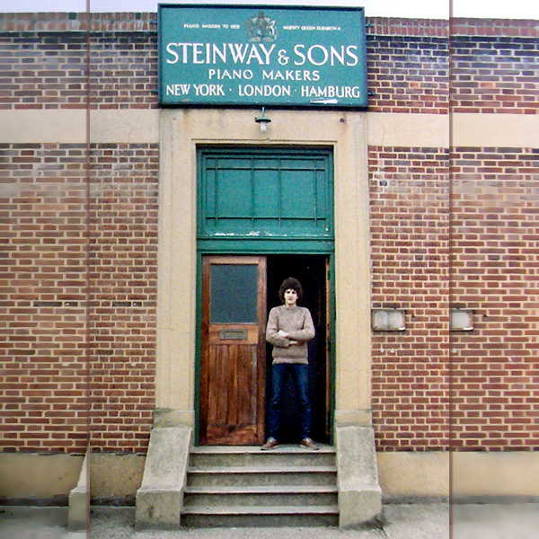 Tim Hendy standing in the doorway of Steinway & Sons, London