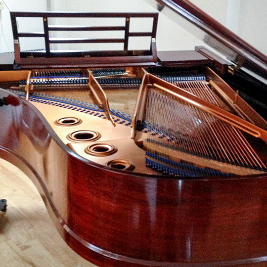 Bluthner grand piano with lid open, showing polished case, frame, strings, lid and desk