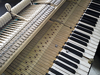 Tim Hendy Pianos workshop: detail of keyboard, frame and action with downweight